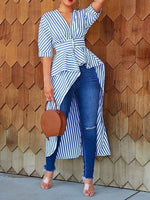 Falbala Stripe V-Neck Half Sleeve Long Blouse