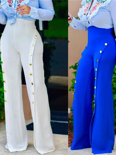 Skinny Split Plain Wide Legs Full Length Casual Pants