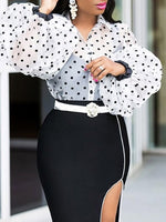 Polka Dots Lantern Sleeve Print Standard Long Sleeve Blouse