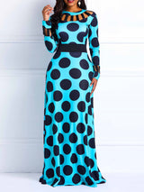 Print Floor-Length Round Neck Polka Dots Pullover Dresses
