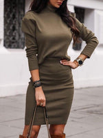 Casual Plain Skirt Pullover Bodycon Two Piece Sets
