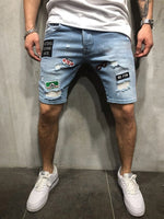 Straight Hole Mid Waist Casual Shorts