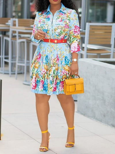 Pleated Knee-Length Lapel Regular Floral Dress