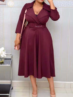 Mid-Calf Notched Lapel Belt Fall High Waist Dress