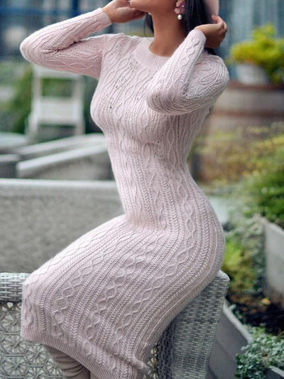 Mid-Calf Long Sleeve Round Neck Pullover Sheath Dress