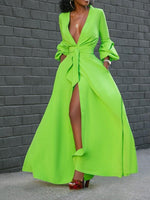 Floor-Length V-Neck Split Pullover A-Line Dress
