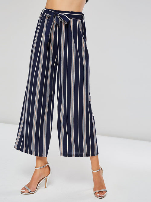 Loose Color Block Belt Wide Legs Full Length Casual Pants