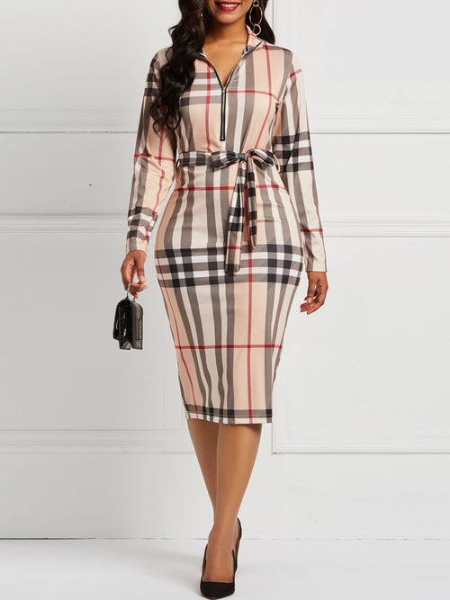 Knee-Length Long Sleeve Hollow Pullover Wear to Work/Workwear Dress