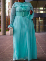 Stand Collar Floor-Length Long Sleeve Pleated High Waist Dress
