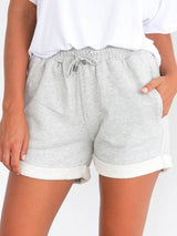 Straight Lace-Up Plain High Waist Lace-Up Shorts