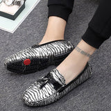 Slip-On Flat Heel Low-Cut Upper Zebra Round Toe Thin Shoes