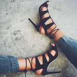 Stiletto Heel Open Toe Lace-Up Plain Casual Sandals