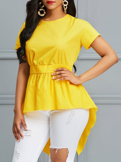 Asymmetric Plain Round Neck Mid-Length Short Sleeve Blouse
