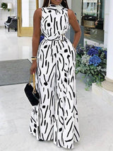 Full Length Print Wide Legs High Waist Jumpsuit