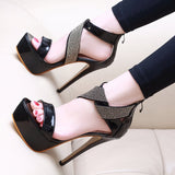 Heel Covering Zipper Stiletto Heel Open Toe Casual Low-Cut Upper Sandals