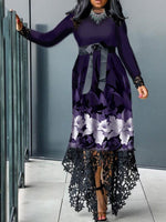 Round Neck Floor-Length Lace Asymmetrical Pullover Dress