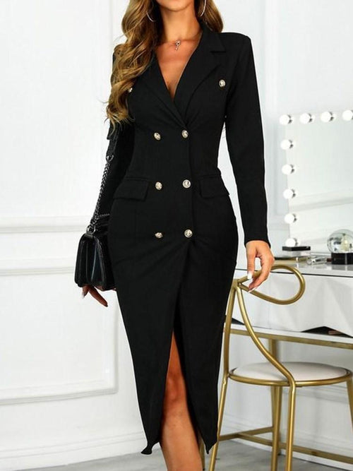 Mid-Calf Button Long Sleeve Plain Regular Dress