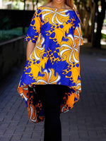 Color Block Regular Print Long Half Sleeve Blouse