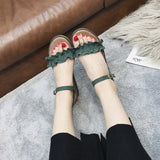 Open Toe Wedge Heel Buckle Ankle Strap Plain Low-Cut Upper Sandals