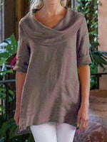 Half Sleeve Plain Mid-Length Loose T-Shirt
