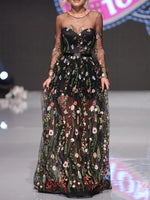 Round Neck Floor-Length See-Through Expansion Floral Dress