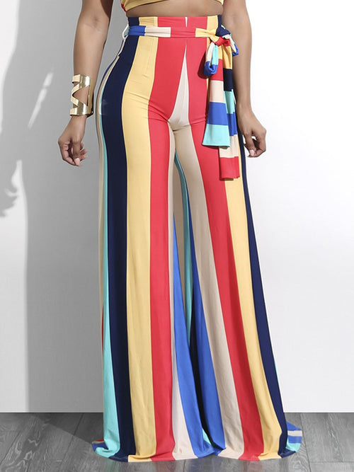 Loose Color Block High Waist Full Length Casual Pants