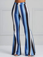 Skinny Color Block Print Bellbottoms Full Length Casual Pants