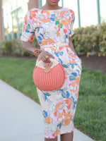 Print Half Sleeve Round Neck Floral Bodycon Dress