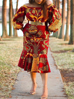 Off Shoulder Print Mid-Calf Lantern Sleeve Off-The-Shoulder Dress