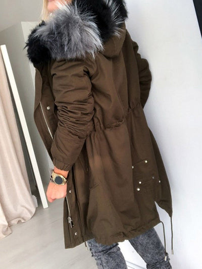 Zipper Patchwork Hooded Loose Long Sleeve Trench Coat