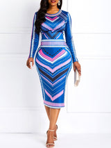 Round Neck Print Long Sleeve Pullover Stripe Dress