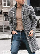 Mid-Length Plaid Pocket Single-Breasted Winter Coat