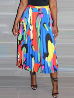 Mid-Calf Print Color Block Western Skirt
