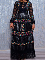 Floor-Length Embroidery Round Neck Flare Sleeve Party/Cocktail Dress