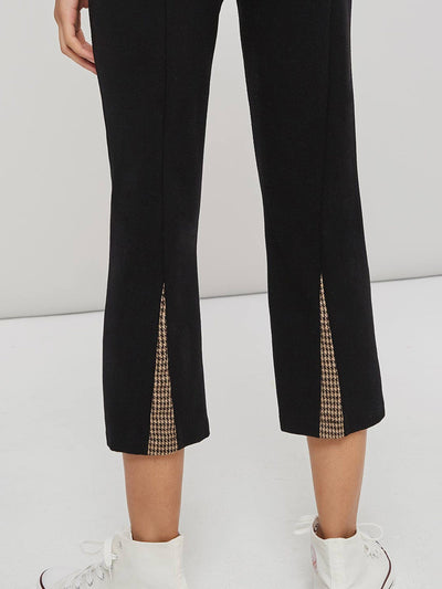 Slim Plain Patchwork Straight Ankle Length Casual Pants