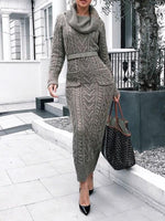 Heap Collar Ankle-Length Long Sleeve Regular Bodycon Dress