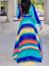 Print V-Neck Long Sleeve A-Line Travel Look Dress