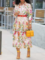 Three-Quarter Sleeve Pleated Mid-Calf Standard-Waist Floral Dress