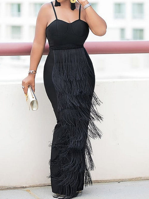 Floor-Length Tassel Sleeveless Bodycon Party/Cocktail Dress