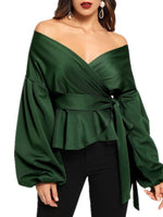 V-Neck Lantern Sleeve Plain Long Sleeve Standard Blouse