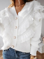 Button V-Neck Fall Sweater
