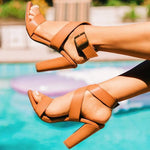 Strappy Chunky Heel Buckle Open Toe Thread Casual Sandals