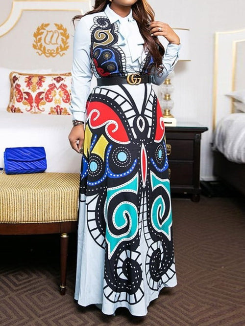 Lapel Print Floor-Length Pullover Color Block Dress