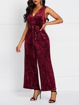 Full Length Lace-Up Plain High Waist Straight Jumpsuit