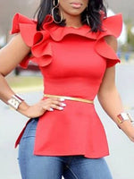 Round Neck Plain Ruffle Sleeve Short Sleeve Standard Blouse