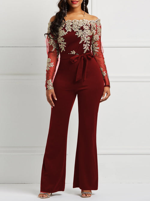 Full Length England Lace-Up Wide Legs Slim Jumpsuit
