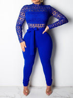 Full Length Western Lace Skinny Jumpsuit