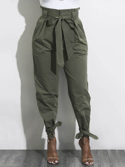 Bowknot Loose Plain Full Length Pencil Pants Casual Pants