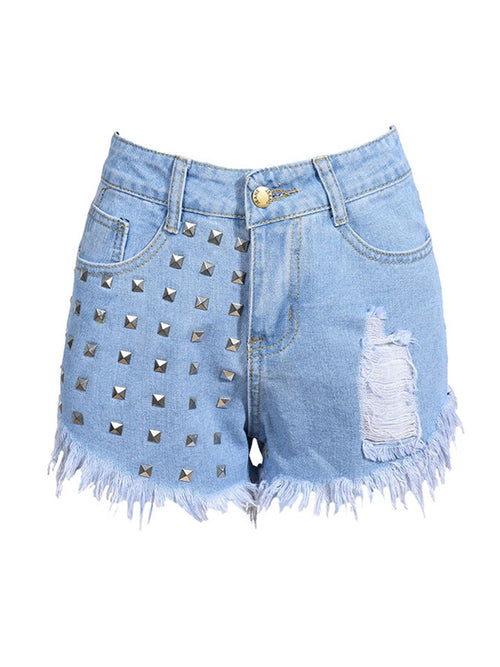 Plain Rivet Straight Straight High Waist Shorts