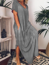 Split Short Sleeve Ankle-Length Plain Beach Dress